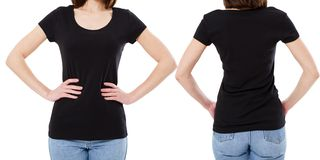 Cropped image -t-shirt design and people concept - close up of young woman in blank black t-shirt, shirt front and back isolated stock photography