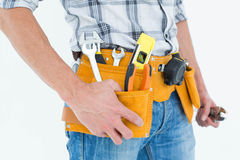 Cropped image of technician with tool belt around waist Royalty Free Stock Image