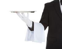 Cropped image of waiter holding empty tray Stock Images