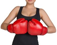 Cropped image of woman in boxing gloves Stock Photo
