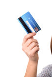 Cropped image of woman with cash card Royalty Free Stock Photos