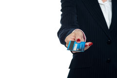 Cropped image of a woman holding credit card Royalty Free Stock Photo