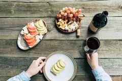 Cropped image of woman holding glass of wine in a hand and plate. With zucchini sandwich Royalty Free Stock Photography