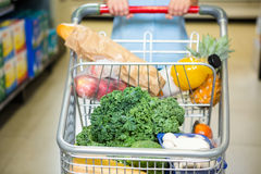 Cropped image of woman pushing trolley in aisle Stock Photography