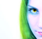 Cropped image of a woman's gaze. On a white background Royalty Free Stock Photo