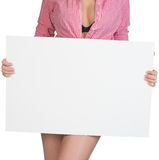 Cropped image of woman showing blank banner Stock Photos