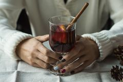 Woman with mulled wine Royalty Free Stock Photos