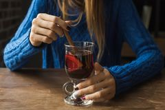 Woman with mulled wine Royalty Free Stock Photography