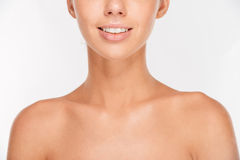 Cropped image of woman with skin care looking at camera Royalty Free Stock Images