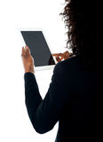 Cropped image of a woman using wireless pc Stock Photo
