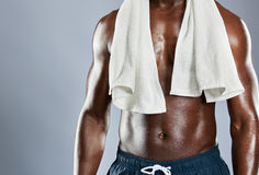 Cropped muscular chest of African man Royalty Free Stock Photo