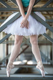 Cropped picture legs of graceful ballerina in Stock Photography