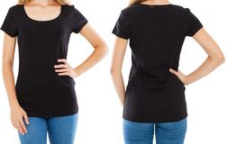 Cropped portrait fron back views woman,girl in black t-shirt isolated on white background,tshirt collage.  stock images