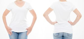 Cropped portrait set woman in tshirt on white background. Mock up for design. Copy space. Template. Blank.  royalty free stock photos