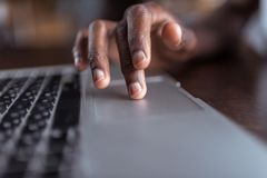 Afro man using laptop Royalty Free Stock Image