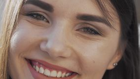 Cropped shot of a beautiful happy woman smiling stock video footage