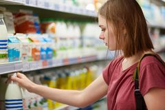Cropped shot of beautiful young female shops for dairy products in grocery store, rakes bottle of milk, eats healthy food, stands royalty free stock photos