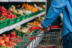 Cropped shot of man with shopping cart. In grocery shop Royalty Free Stock Photo