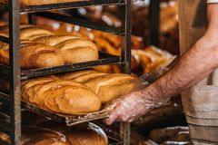 Cropped shot of shop assistant arranging loafs of bread. In supermarket royalty free stock photos