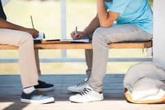 Boys studying on bench Royalty Free Stock Images