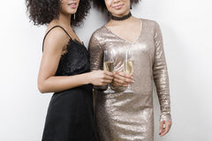 Cropped shot of two females holding champagne glasses. Mid section Stock Images