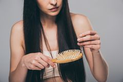 Cropped shot of young brunette woman combing hair with hairbrush. Isolated on grey hair loss concept stock photos