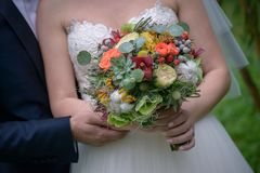 Cropped shot of young Caucasian couple with bride holding a large  autumn flowers bouquet with succulents and berries. Horizontal shot of female dressed in white Stock Image