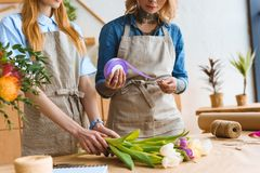 Cropped shot of young female florists arranging flower. Bouquet together stock image