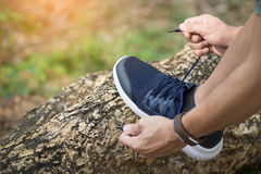 Cropped shot of young man runner tightening running shoe laces,. Getting ready for jogging exercise outdoors. Male jogger lacing his sneakers standing on forest Stock Photography
