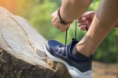 Cropped shot of young man runner tightening running shoe laces,. Getting ready for jogging exercise outdoors. Male jogger lacing his sneakers standing on forest Royalty Free Stock Photo