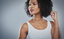 Cropped upper body view of young woman Stock Photo