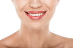 Cropped view of beautiful smiling woman with perfect skin, Stock Photo