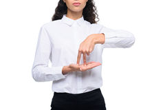 Cropped view of beautiful woman gesturing signed language Stock Photography
