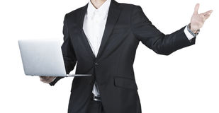 Cropped view of business man hold laptop Stock Images