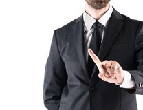 Cropped view of businessman in suit pointing with finger. Isolated on white Royalty Free Stock Images