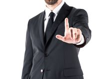 Cropped view of businessman in suit pointing with finger,. Isolated on white Royalty Free Stock Photography