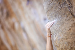Cropped view of climber's hand royalty free stock images