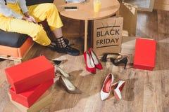 girl choosing heels stock photography