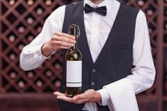 Cropped view man sommelier holding bottle of wine. In cellar stock images