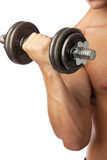 Cropped view of a muscular man lifting weights Royalty Free Stock Images