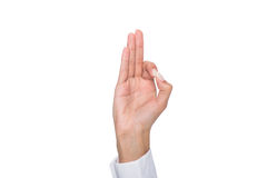 Cropped view of person gesturing signed language or showing ok sign Stock Photos
