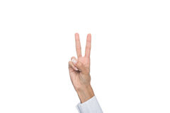Cropped view of person gesturing signed language or showing two sign. Isolated on white Royalty Free Stock Photography