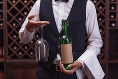 Sommelier with wine and glass. Cropped view sommelier holding bottle of wine and glass in cellar Royalty Free Stock Image