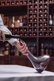 Cropped view sommelier pouring red wine from bottle into decanter at table. In cellar royalty free stock image