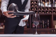 Sommelier pouring red wine. Cropped view sommelier pouring red wine from decanter into glass at table in cellar Royalty Free Stock Images