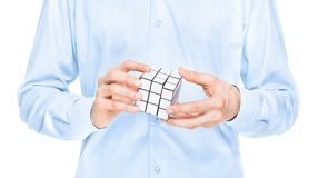 Businessman solving blank puzzle game Royalty Free Stock Image
