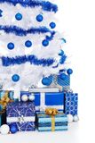 Cropped view of white Christmas tree and presents Stock Photography