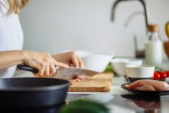 Cropped view of woman hands cutting beef on cutting board. Cropped view of woman hands slicing chicken breasts meat on chopping board, preparing dinner for Stock Photos