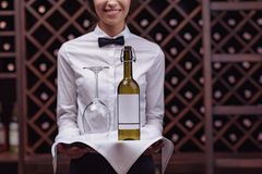 Cropped view woman sommelier standing with bottle of wine and glass on tray. In cellar royalty free stock photos
