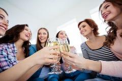 Cropped w górę depresji pod kąta widokiem ładne urocze czaruje atrakcyjne rozochocone damy kosztuje wina wineglass wielkiego zdjęcie royalty free